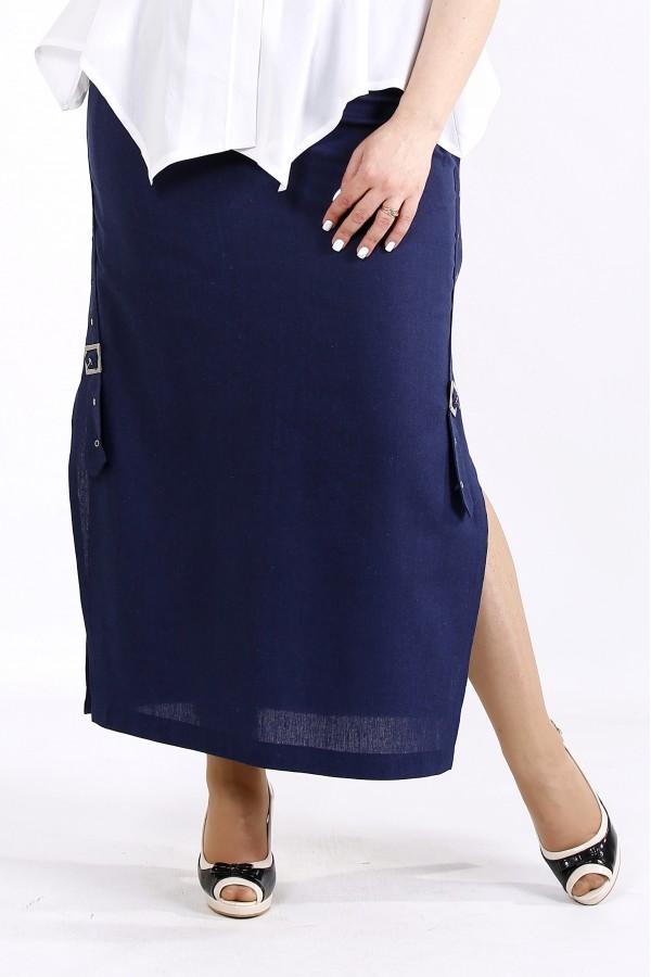 Фото Синяя длинная льняная юбка с разрезом | 01111-2