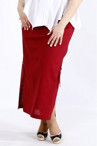 Фото Льняная юбка бордового цвета   01111-3