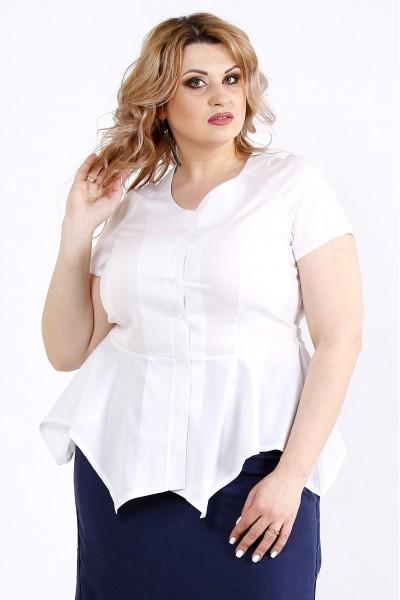 Фото Белая блузка из поплина с коротким рукавом | 01112-1