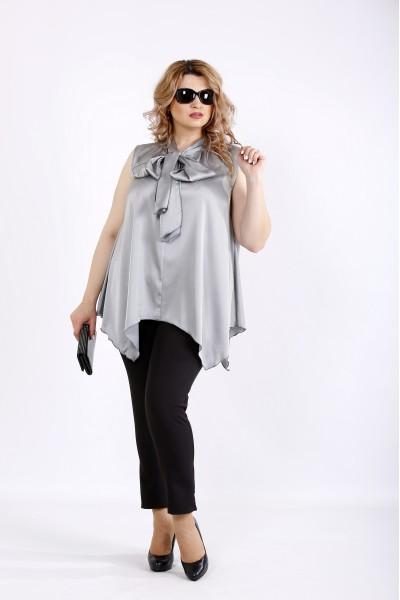 Фото Свободная блузка стального цвета без рукавов | 01116-1
