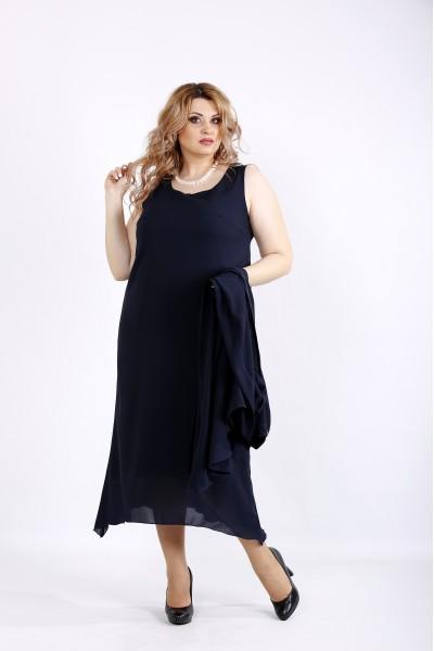 Фото Синій костюм: сукня і накидка | 01119-1