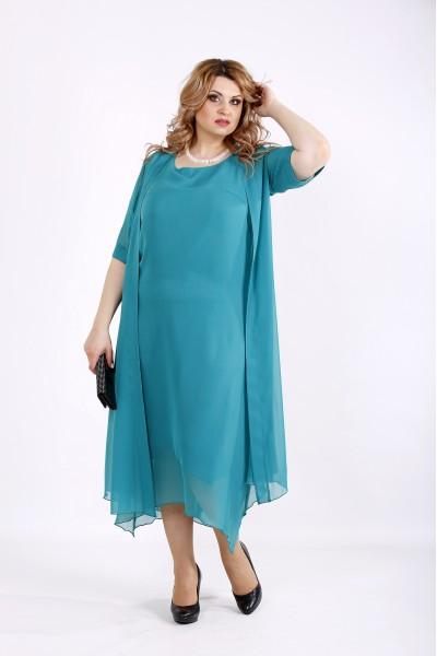 Фото Бирюзовый комплект: платье и накидка | 01119-3
