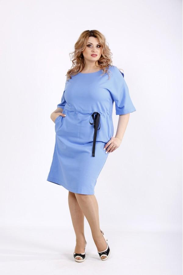 Фото Голубое платье выше колена из льна | 01120-2