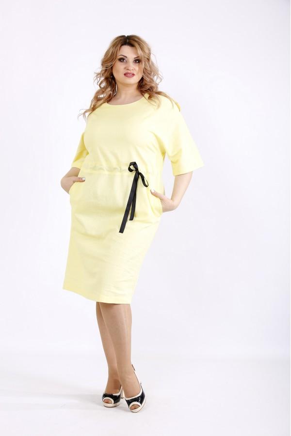 Фото Жовте світле плаття з льону   01120-3