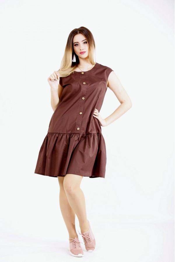 Фото Шоколадне плаття зі спідницею   01121-1