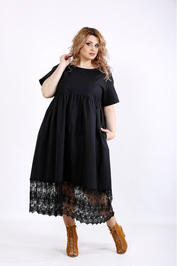Фото Черное свободное платье из льна с макраме | 01122-3