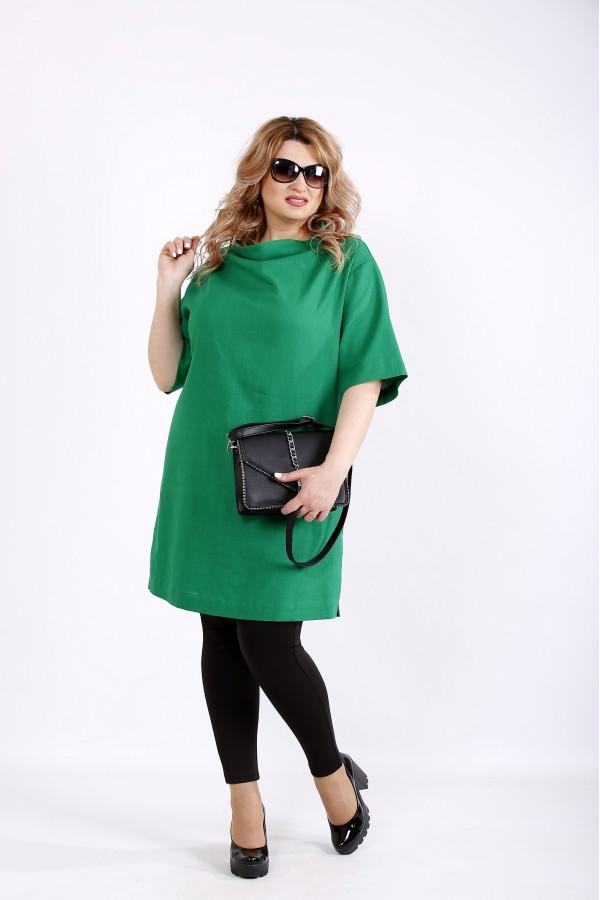 Фото Зеленая льняная блузка-туника | 01124-2