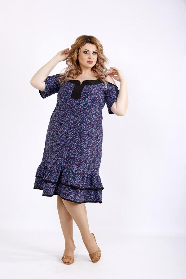 Фото Міді плаття з блакитним принтом   01126-3