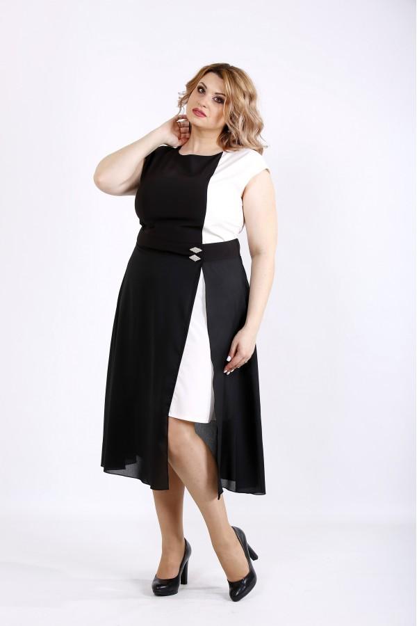 Фото Чорно-біле асиметричне плаття   01127-1