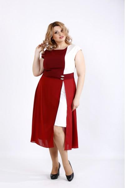 Фото Бордовое с белым асимметричное платье с разрезом | 01127-2