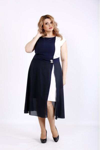 Фото Синее с белым платье | 01127-3