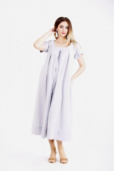 Фото Льняное платье ниже колена серое | 01136-1
