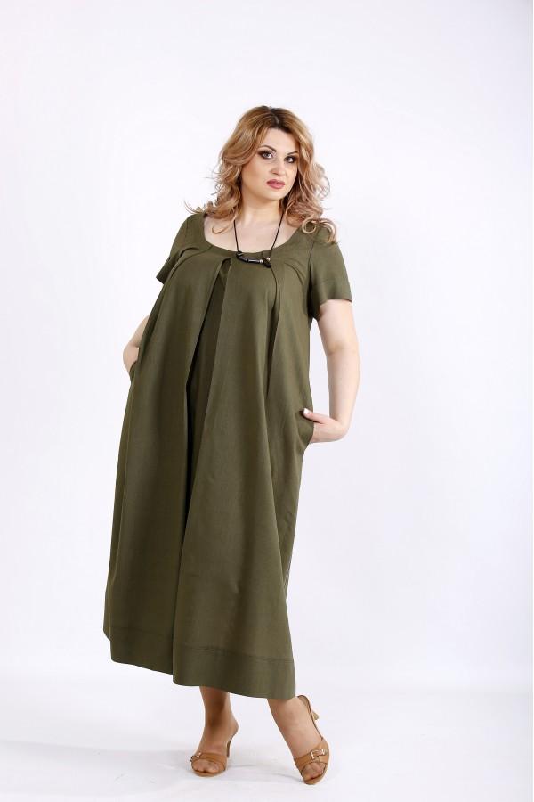 Фото Платье хаки ниже колена из льна | 01136-2