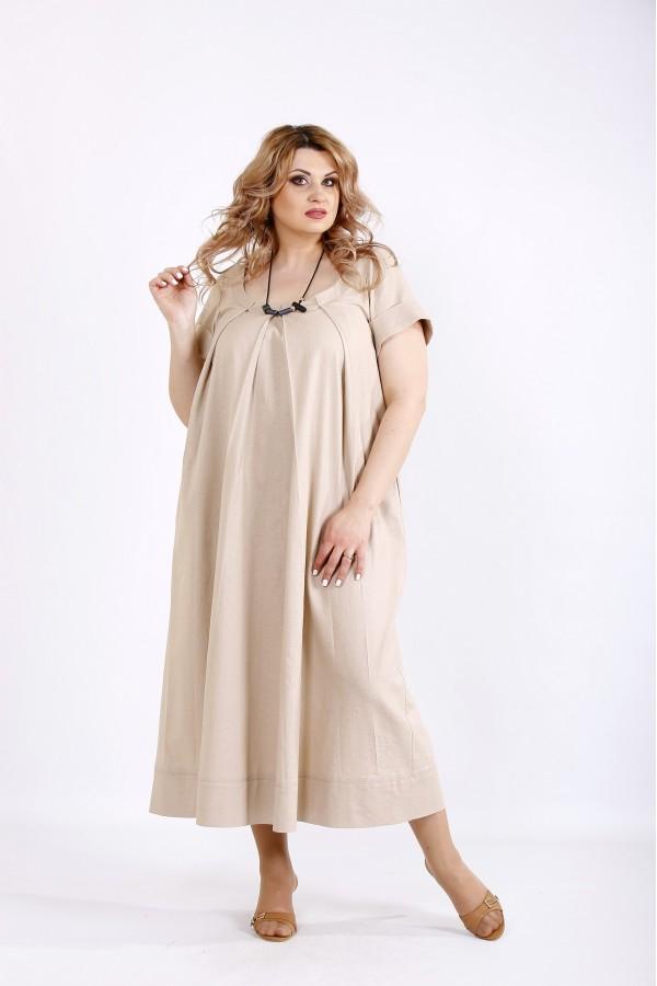 Фото Бежева довга сукня з льону   01136-3