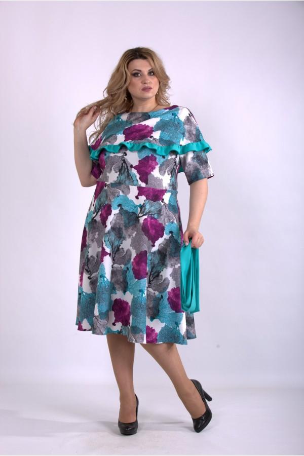 Фото Бірюзове плаття з квітами   01137-1