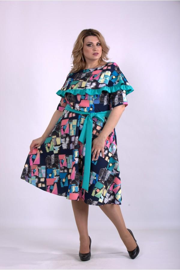 Фото Цветное свободное платье из костюмки | 01137-2