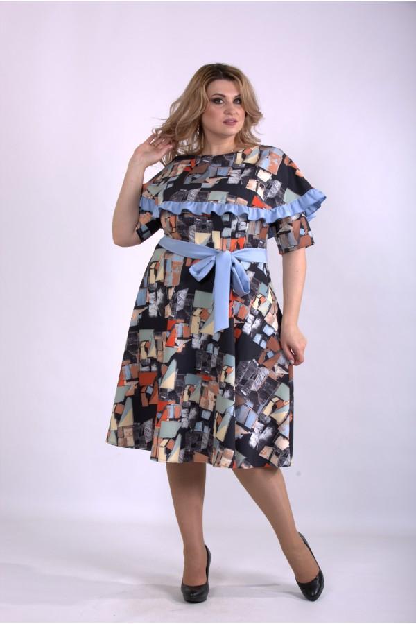 Фото Різнокольорове плаття нижче коліна   01137-3