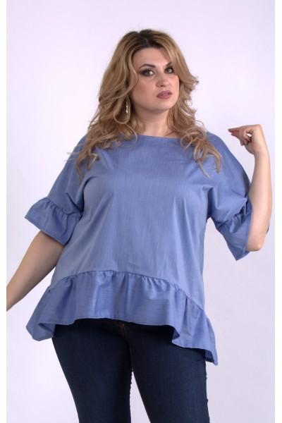 Фото Практичная синяя блузка | 01138-2