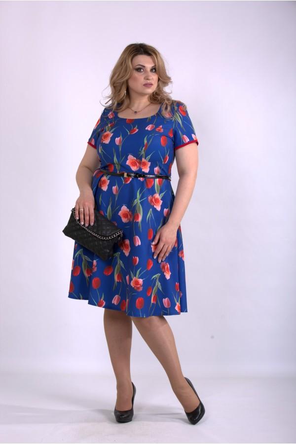 Фото Синее платье с тюльпанами | 01139-2