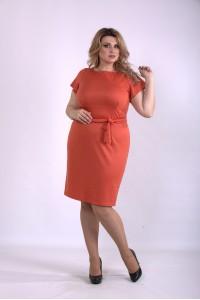 Фото Оранжевое платье с коротким рукавом   01142-3
