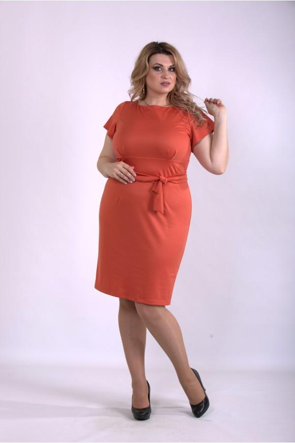 Фото Помаранчеве плаття з коротким рукавом   01142-3