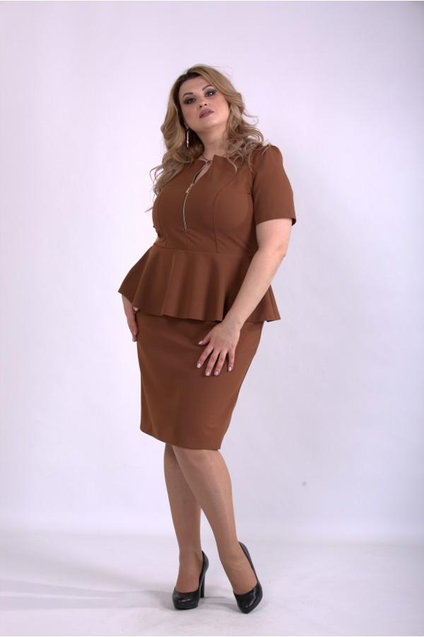 Фото Красиве і ошатне плаття кольору віскі   01143-3