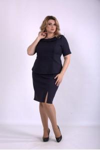 Фото Темно-синий костюм: юбка и блузка | 01145-3