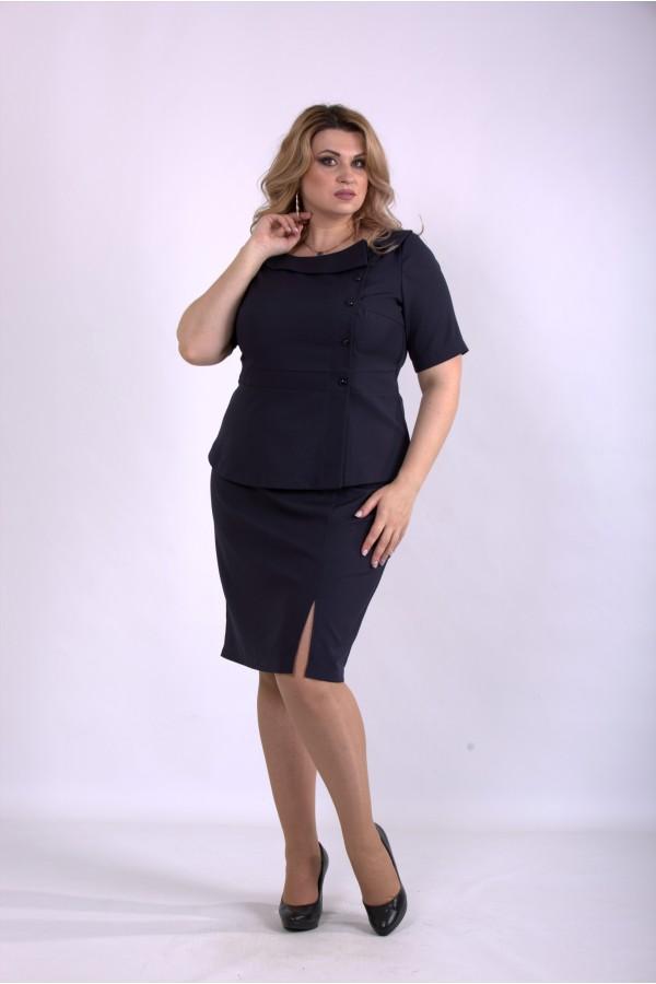 Фото Темно-синій костюм: спідниця і блузка | 01145-3