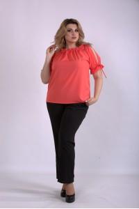 Фото Комплект: коралловая блузка и брюки | 01146-3