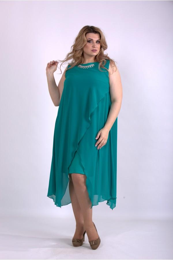 Фото Зеленое асимметричное платье | 01147-2