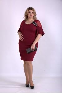 Фото Красивое платье-футляр бордо | 01150-2