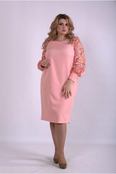 Фото Пудровое платье с прозрачными рукавами   01152-2