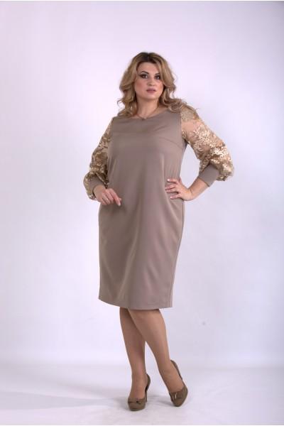 Фото Бежевое элегантное платье   01152-3
