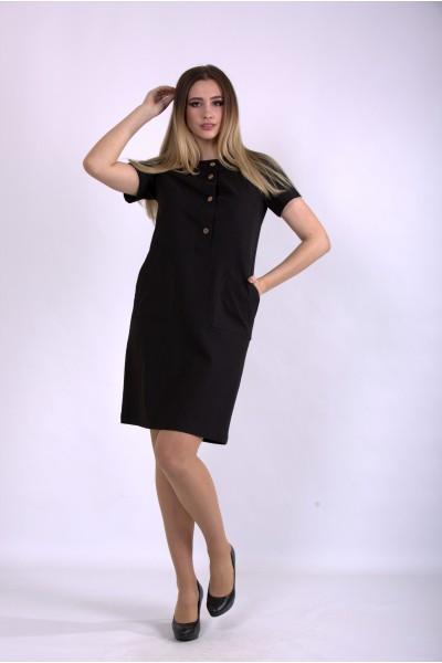 Фото Черное льняное платье   01153-1
