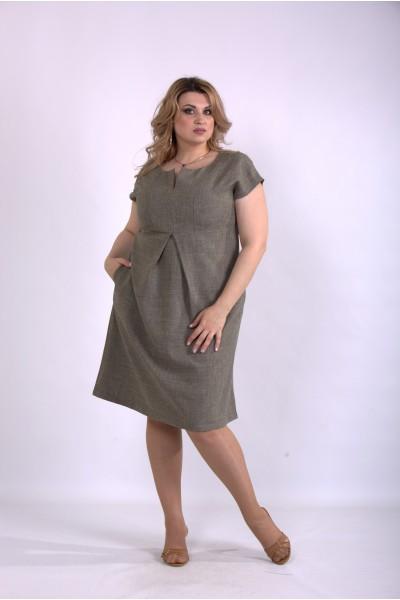 Фото Горчичное платье лен-габардин | 01154-2