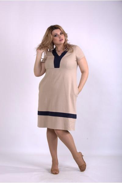 Фото Бежевое легкое льняное платье | 01155-2