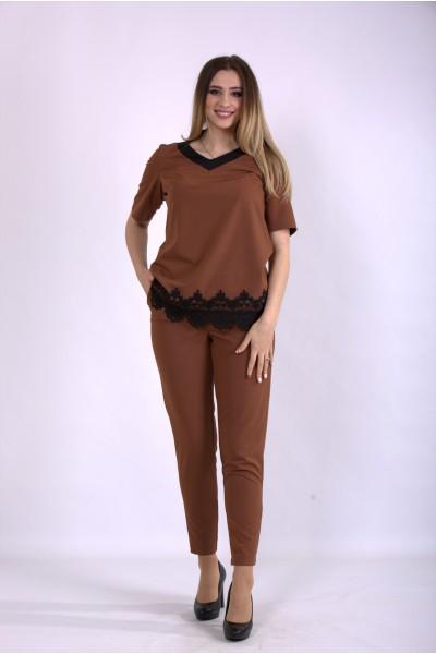 Фото Костюм брюки и блузка цвета виски | 01156-1