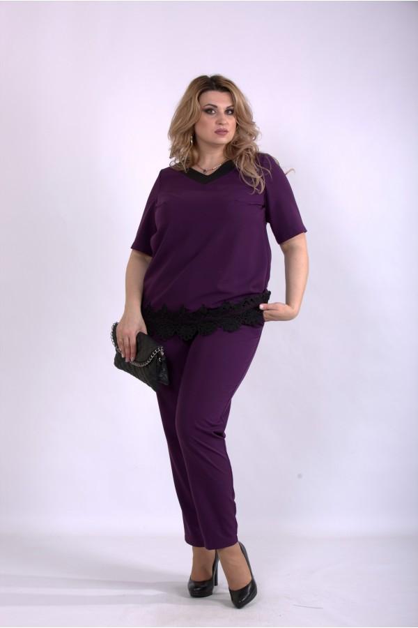 Фото Комплект: штаны и блузка баклажан | 01156-3