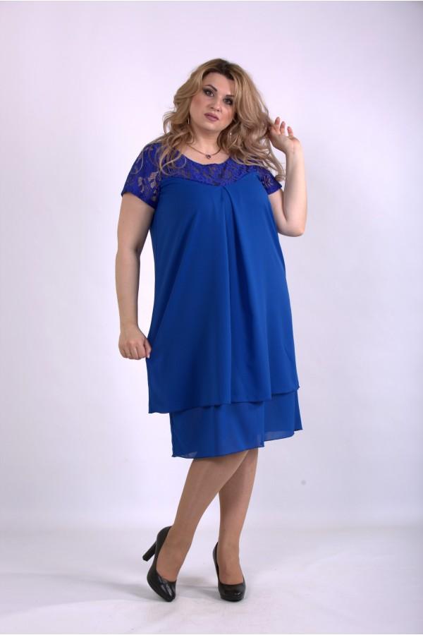 Фото Шифоновое платье электрик | 01158-1