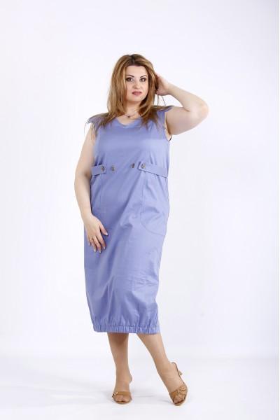 Фото Синее платье ниже колена | 01166-2