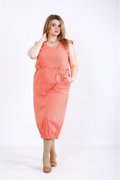 Фото Коралловое платье из коттона | 01166-3