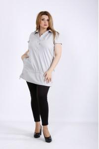Фото Серая длинная блуза | 01167-1