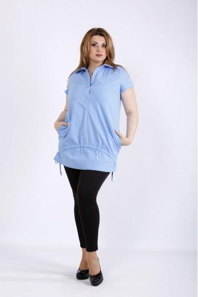 Фото Голубая блузка с карманами | 01167-2