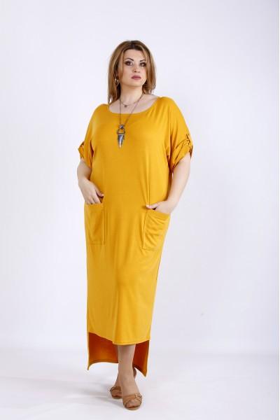 Фото Длинное платье горчица | 01168-3