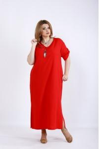 Фото Коралловое платье из льна | 01169-2