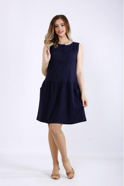 Фото Синє коротке плаття з льону   01173-1