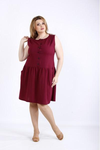Фото Бордове плаття вище коліна з льону   01173-2