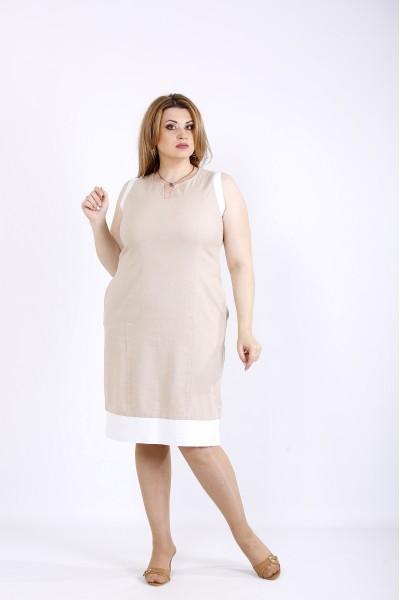 Фото Бежеву сукню без рукавів   01175-1