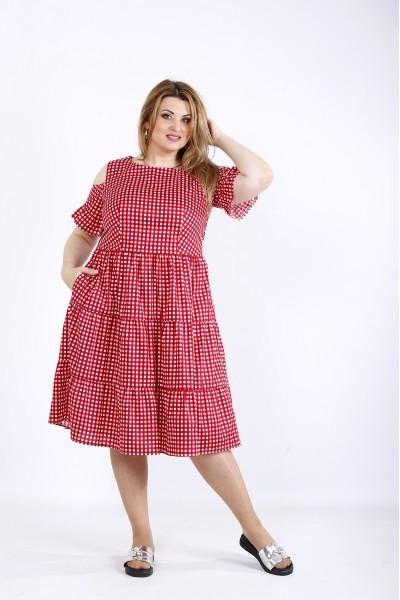 Фото Красное пышное платье | 01177-2
