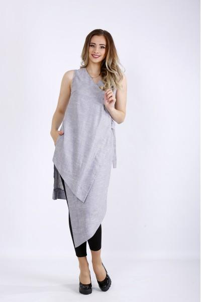 Фото Длинная серая блузка-туника из льна | 01179-1